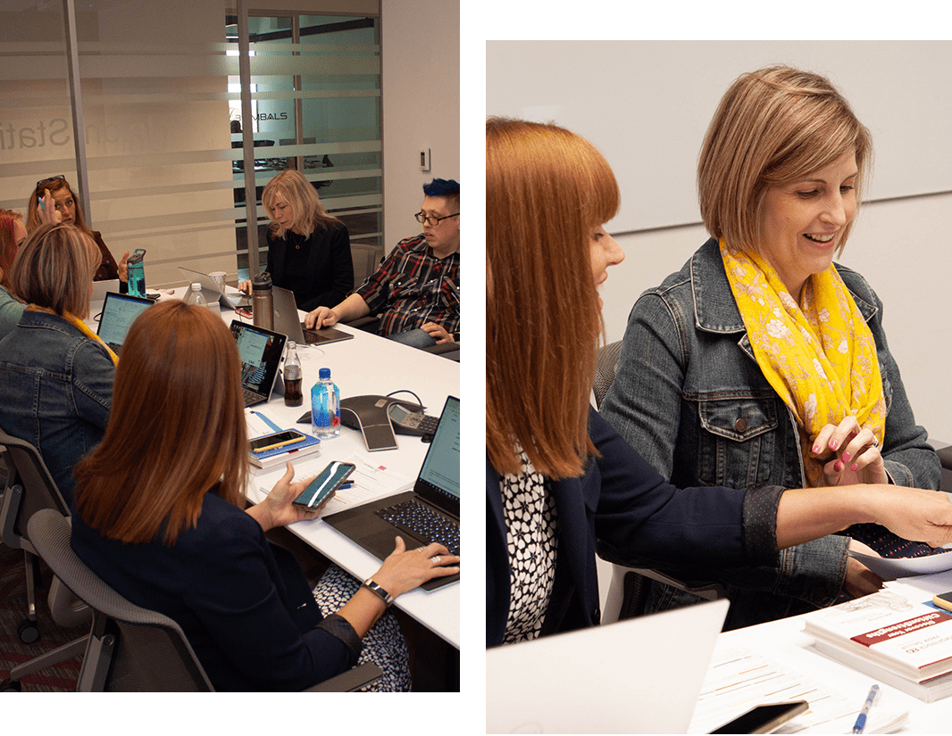 Two photos, one of the K2D team during a meeting in our offices, and a closeup of Jenn Deerr and Kris Anderson sitting at a table