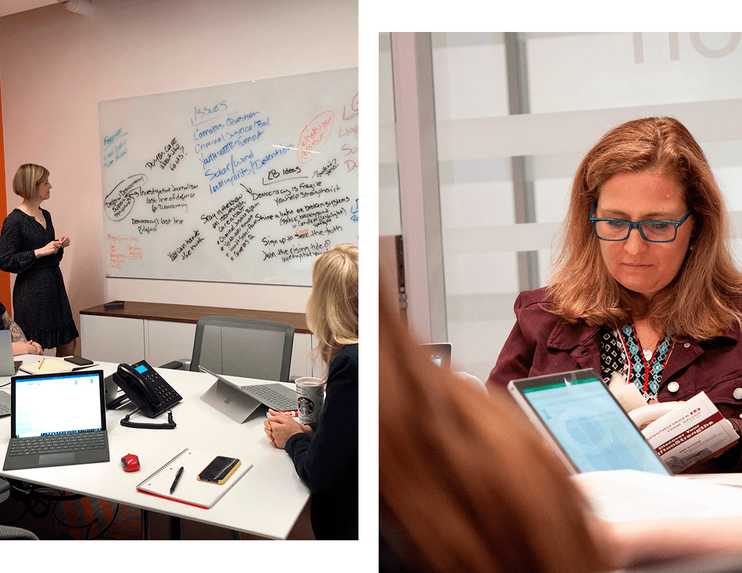 Two photos, One of Jenn Deerr at the whiteboard during a meeting in our offices, and a closeup of Karin Kirchoff sitting at a table